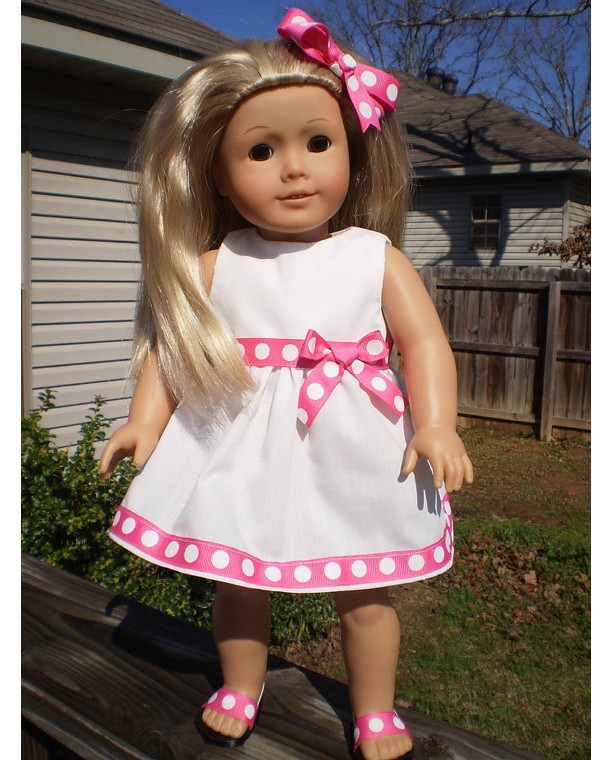 "American Girl Doll Dress and hairbow, 18"" White doll dress, pink and white polka dot, American Girl Doll Clothes, handmade doll clothes"