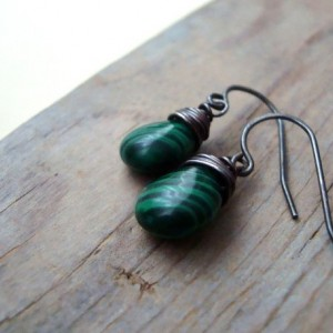 Forest Green Malachite Earrings