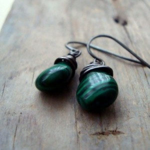 Forest Green Malachite Earrings