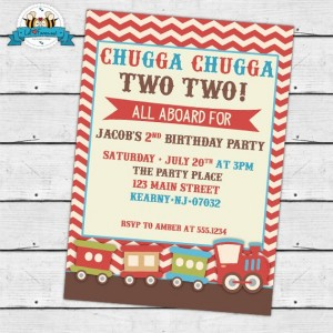 Vintage Choo-Choo Train Birthday Party Invitation - Invite Card - Personalized invitation