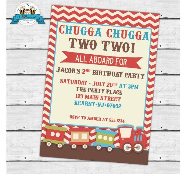 Vintage Choo-Choo Train Birthday Party Invitation - Invite Card - Personalized invitation