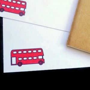Gocco Printed Double Decker Bus Notecards (5 pack)