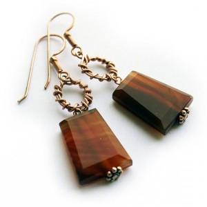 Carnelian Trapezoid Copper Earrings
