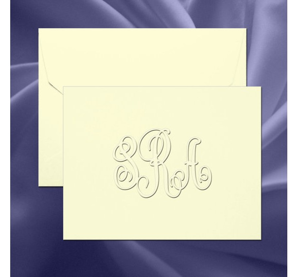 traditional monogram embossed folded note cardsrt07a - Embossed Note Cards