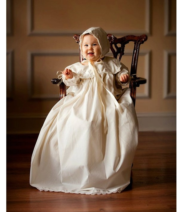 Custom Christening Baby Infant Baptism Gown Bonnet Hat Cotton Sat ...