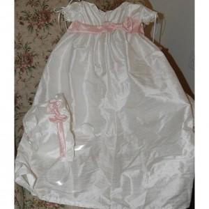 Custom Christening Baby Infant Baptism Gown Bonnet Hat Cotton Satin 5 Styles