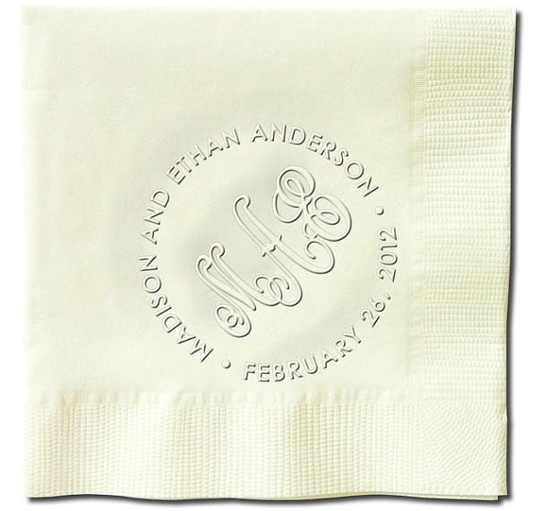 Ageless Wedding Monogram Embossed Napkins  (WRT147)