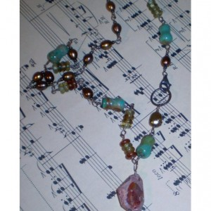 Rustic Sterling and Mexican Opal Necklace
