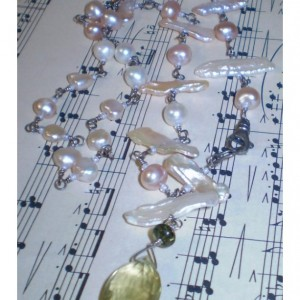 Freshwater Pearl Assymetrical Sterling Silver Necklace