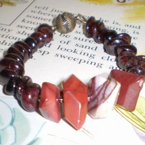 Garnet Nugget and Mookaite Bracelet