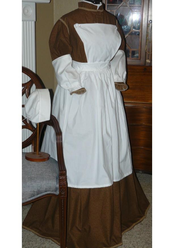 Civil War Reenactment Victorian Prairie Nurse Colonial Pinner Apron Clara Barton