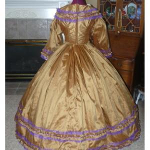 Silk Civil War Reenactment Victorian Dinner Ball Gown Southern Belle Dress Set Ladies Ruching CUSTOM Satin available