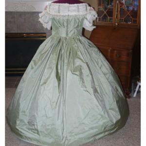 Satin Civil War Reenactment Victorian Dinner Ball Gown Southern Belle Dress Set Ladies CUSTOM Silk available