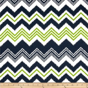 Navy Blue and Lime Green Chevron Valances