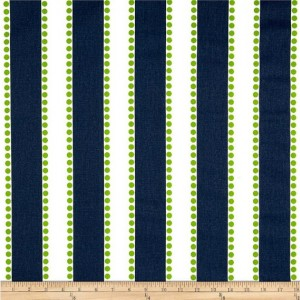 Navy Blue and Lime Green Stripe Valances