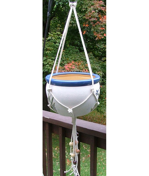 Knots and Beads 48 Inch Macrame Plant Hanger, 100% Cotton Rope