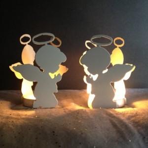 Set of 2 Praying Angel Candle Holders, Christmas Candle Holder, Angel Candle Holders, Christmas Decoration