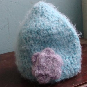 Super Soft Blue Crochet Beanie with Purple Flower