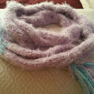 Super soft cable knit scarf with fringe - Iced Sugar Plum