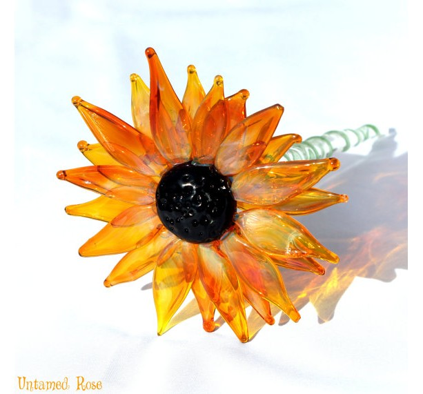 Black Eyed Susan, Lampwork Hand Blown Glass Flowers, Spring Daisies Sun Flower, Flowers Long Stemmed, Boro SRA