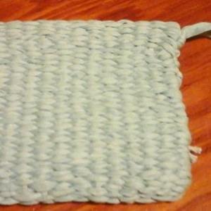Woven hand made loomed wristlet, light blue, washable, mixed fibers, made in USA free shipping clutch purse