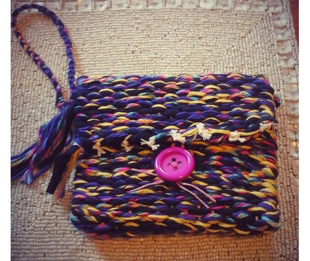 USA handmade woven loomed wristlet removable strap mixed fibers multicolor washable satin lined free shipping