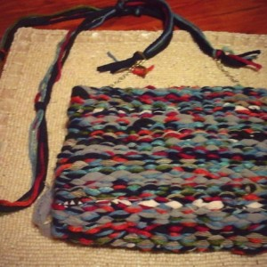 USA hand-made woven loomed crossbody removable strap purse clutch multi color washable mixed fabrics satin lined free shipping