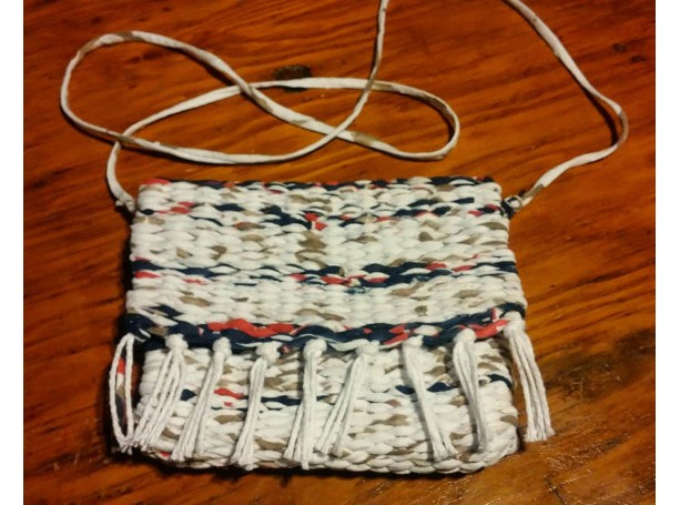 USA hand-made woven loomed removable crossbody strap purse, clutch, washable, free shipping white, blue, red, tan