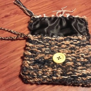 USA hand made, loomed woven wristlet purse, clutch, washable, free shipping, black, gold, grey, button hemp closure, satin lined