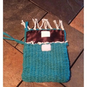 USA handmade woven loomed wristlet purse clutch washable teal satin lined free shipping