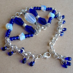 Opalite Gemstone and Royal Blue Glass Beads Chain Bracelet