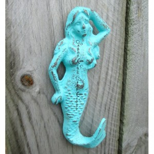 59 Colors Distressed Cast Iron Mermaid Hook- Nautical Bathroom, Beach Decor, Mermaid Decor, Nautical Decor, Mermaid Nursery