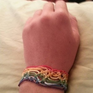 Rainbow striped micro macrame bracelet with seed bead accents