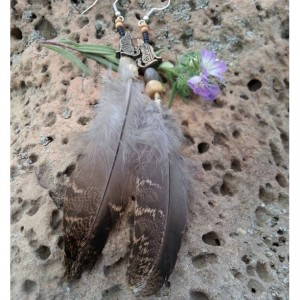 Howling Coyote & Feather Earrings
