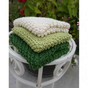 knit washcloths - set of three