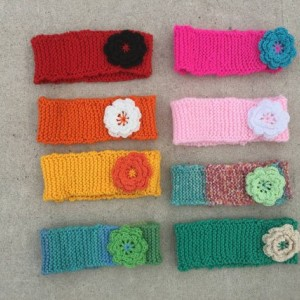 knit headband with knit flower - baby