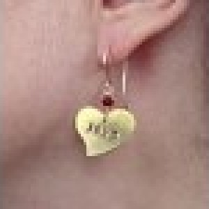 Hand Stamped Heart Earrings