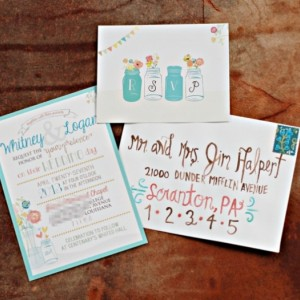 Mason Jar Floral Wedding Invitation Suite TOTALLY CUSTOMIZEABLE with hand drawn wedding day MAP invitations