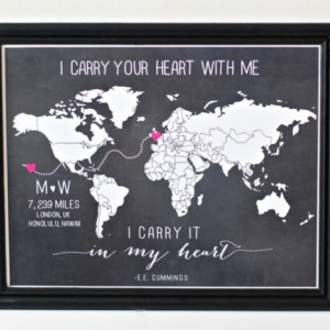CUSTOM Long distance relationship love world map print with miles military or anniversary gift