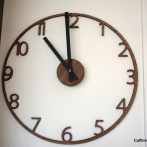 Unique Naked Wood Wall Clock. Cutout walnut clock, modern mid-century style. 15