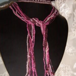 Purple Peyote Diamond Flower Pattern Lariat/Necklace/Belt