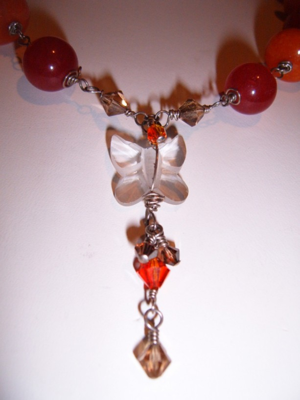 Sterling Wrapped Jade Crystal Butterfly Necklace