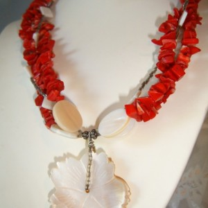 Red Coral and Mother of Pearl Flower  3 Strand Couture Creation