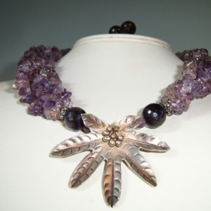 Amethyst Amazon Hilltribe Sterling Leaf Necklace/Earrings Set
