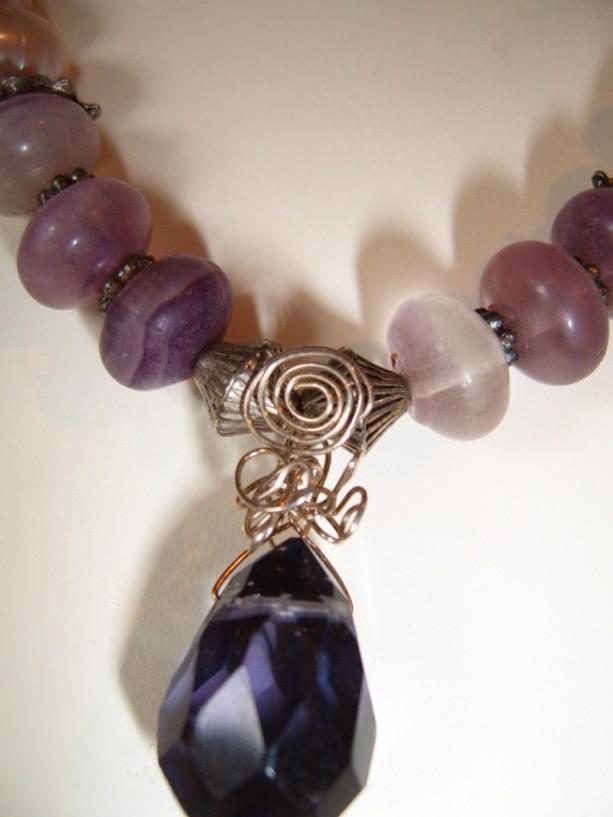 Regal Mauve Pearls Purple Sterling Wrapped Quartz Briolettte Flourite Couture Necklace