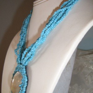 Turquoise Beads and Shell Necklace