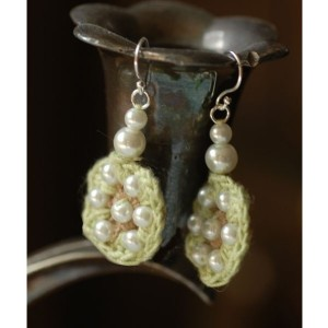 Mint and Pearl Crocheted Cotton Drop Earrings