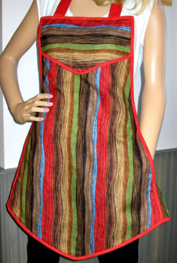 Retro Vintage Style Apron with hidden side pockets- Colorful Woodgrain Print with a red Trim - Flatters all body types