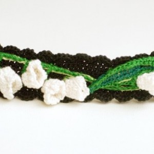 Lily of the Valley bracelet in cotton crochet...  Green and white on black band
