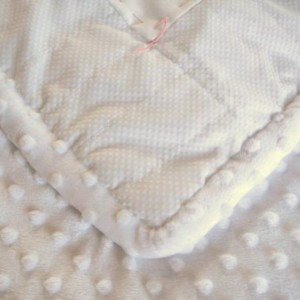 Unique White Baby Quilt, White Minky with Hand Embroidery, Blue and Pink Pieced hearts, Hand finished and tied